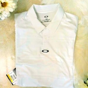 Oakley Aero Strip Jacquard Polo, White Size M